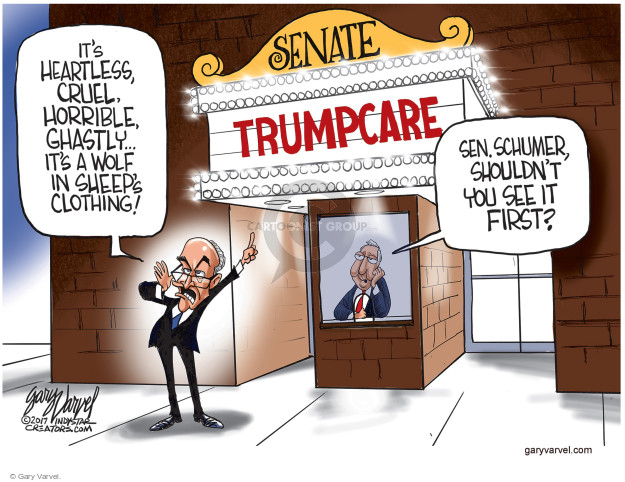 Its heartless, cruel. Horrible, ghastly … Its a wolf in sheeps clothing! Sen. Schumer, shouldnt you see it first? Senate. Trumpcare.
