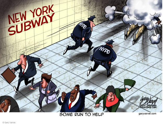 New York Subway. NYPD. Some run to help.