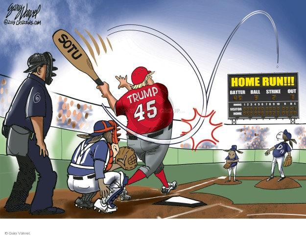 SOTU. Trump. Home run!!! Batter. Ball. Strike. Out. Inning. Visitor. Home.