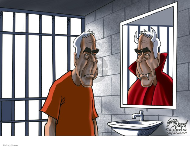 No caption (Jeffrey Epstein looks in a mirror while inside a jail cell. His reflection has horns, fangs and a red cape).