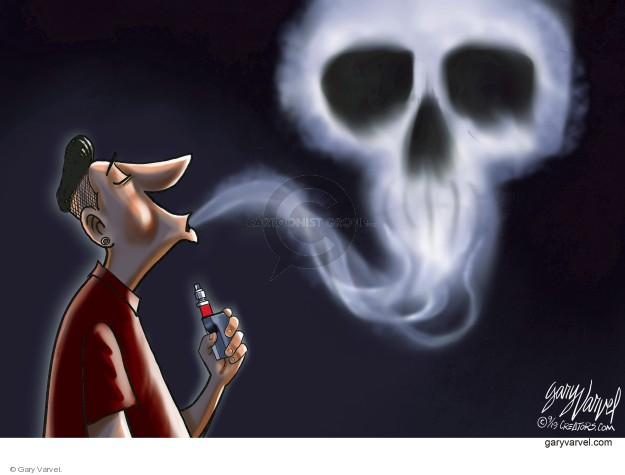 No caption (A vaper blows out a cloud of smoke in the shape of a skull).