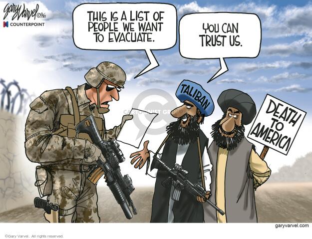 Gary Varvel  Gary Varvel's Editorial Cartoons 2021-08-31 foreign policy