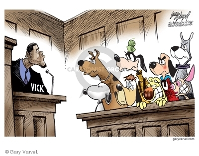 (Michael Vick on trial for killing dogs facing a jury of dogs.)