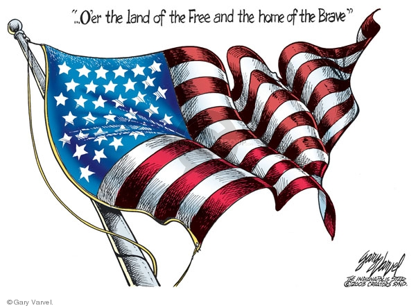 ..Oer the land of the Free and the home of the Brave.