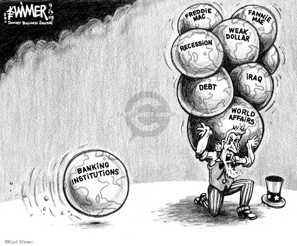 Cartoonist Karl Wimer  Karl Wimer Financial Cartoons 2008-09-26 recession
