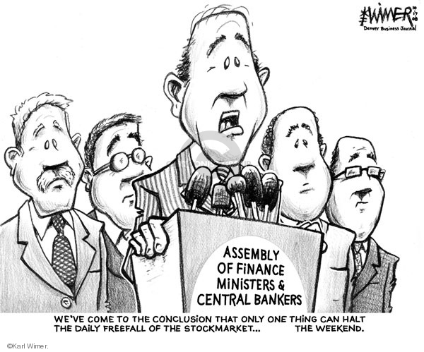 Karl Wimer  Karl Wimer Financial Cartoons 2008-10-17 stock market