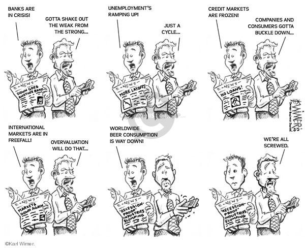 Cartoonist Karl Wimer  Karl Wimer Financial Cartoons 2009-01-23 unemployment