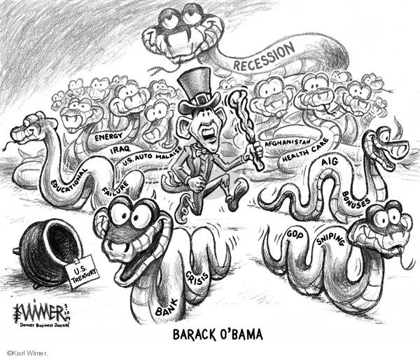 Karl Wimer  Karl Wimer Financial Cartoons 2009-03-10 president