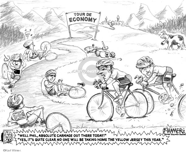 """Tour de Economy. """"Well, Phil, absolute carnage out there today!"""" """"Yes, its quite clear no one will be taking home the yellow jersey this year."""""""