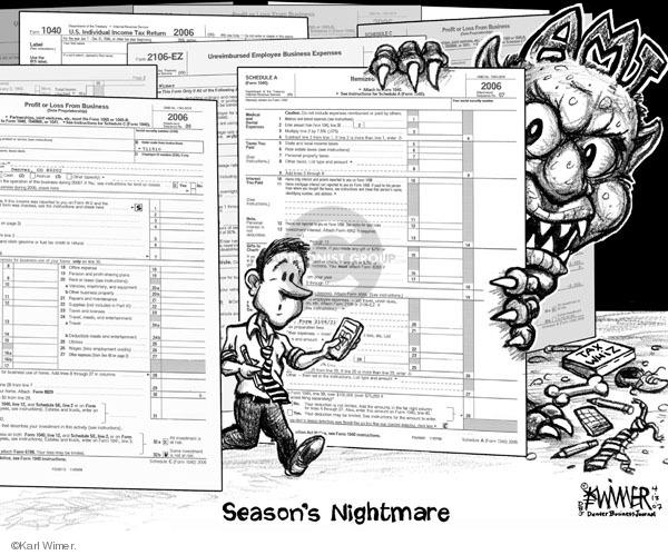 Cartoonist Karl Wimer  Karl Wimer Financial Cartoons 2007-04-13 minimum tax
