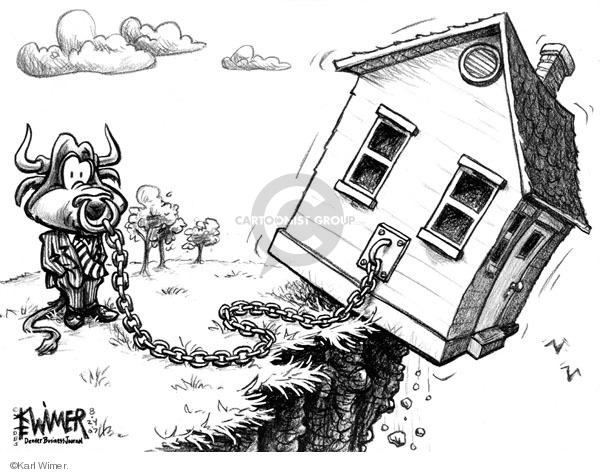 Karl Wimer  Karl Wimer Financial Cartoons 2008-08-24 economy