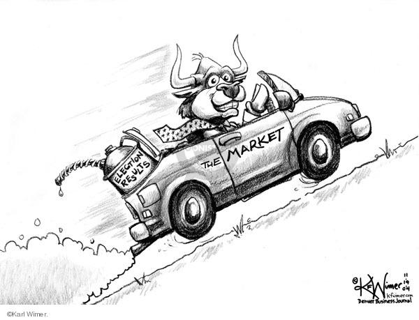 Karl Wimer  Karl Wimer Financial Cartoons 2004-11-19 stock market