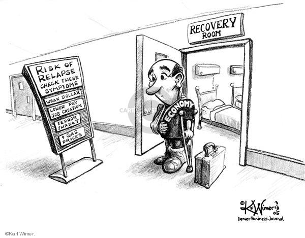 Karl Wimer  Karl Wimer Financial Cartoons 2005-03-18 economy