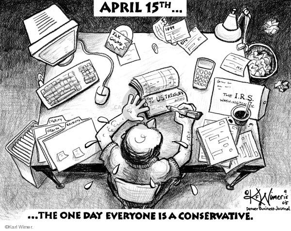 Karl Wimer  Karl Wimer Financial Cartoons 2005-04-15 tax