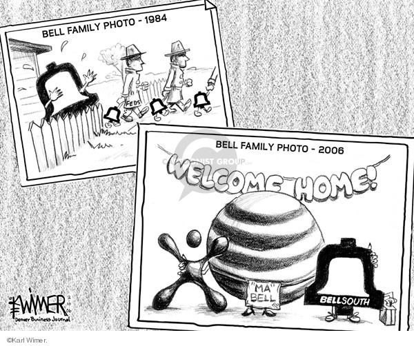 """Bell family photo - 1984.  Feds.  Bell family photo - 2006.  Welcome Home.  (Cingular).  """"Ma"""" Bell. Bell South."""