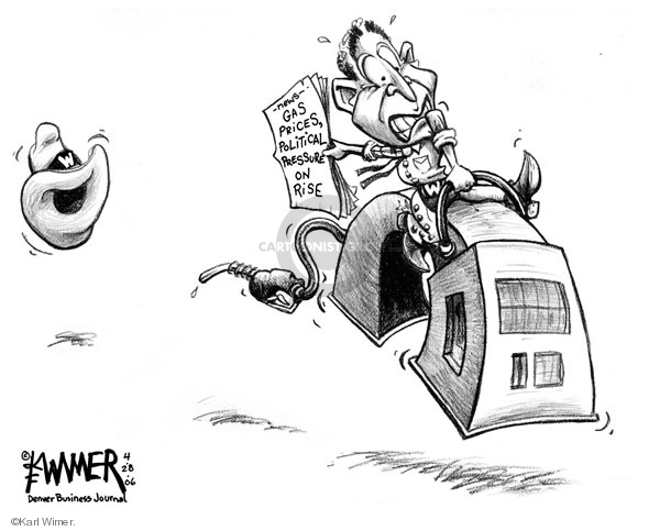 Cartoonist Karl Wimer  Karl Wimer Financial Cartoons 2006-04-28 George W. Bush