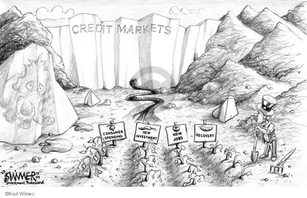 Cartoonist Karl Wimer  Karl Wimer Financial Cartoons 2009-11-09 unemployment