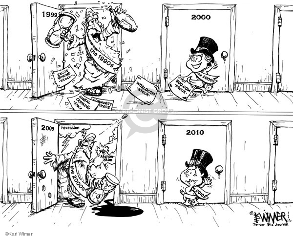 Cartoonist Karl Wimer  Karl Wimer Financial Cartoons 2010-01-01 recession