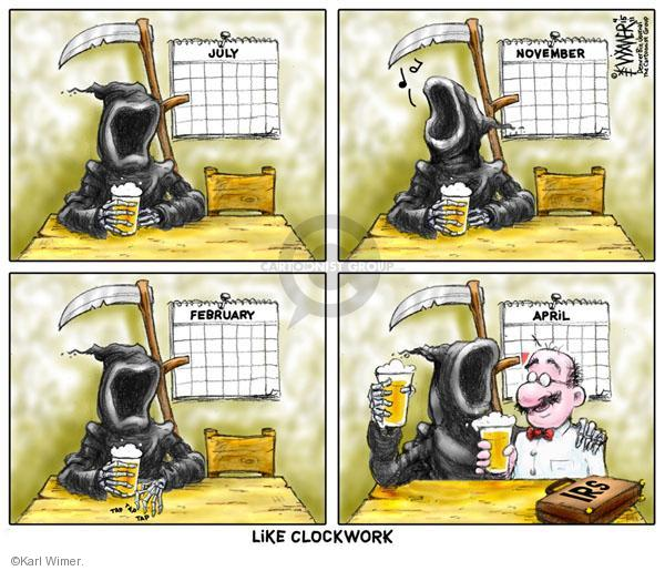 Cartoonist Karl Wimer  Karl Wimer Financial Cartoons 2011-04-15 death and taxes