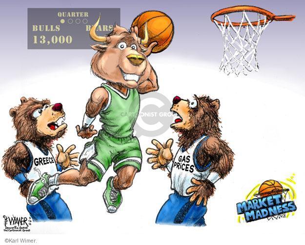 Quarter. Bulls 13,000. Bears. Greece. Gas prices. Market Madness.