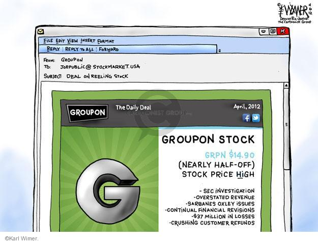 Karl Wimer  Karl Wimer Financial Cartoons 2012-04-06 stock market