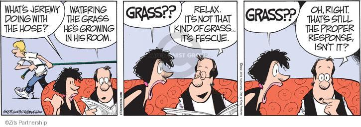 Whats Jeremy doing with the hose? Watering the grass hes growing in his room. GRASS?? Relax. Its not that kind of grass … Its fescue. GRASS?? Oh, right. Thats still the proper response, isnt it?
